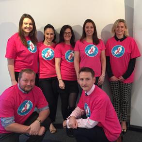 Novo Altum Team Wearing Pink Breast Cancer Tshirts